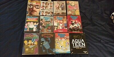 Dvd Lot of 12 The Simpsons,Family Guy,Futurama,American Dad,Workaholics Used
