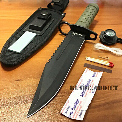 """12"""" Tactical Hunting Army Rambo Fixed Blade Knife Machete Bowie w Survival Kit-M"""