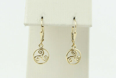 Unique 14k Yellow Gold Dangle Earrings with Stylized Wing Character