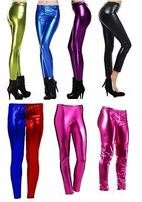 Womens Wet Look Metallic Leggings Ladies Foil Shiny Plus Size Girls 8-26