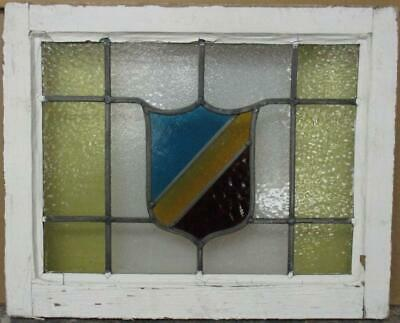 """OLD ENGLISH LEAD STAINED GLASS WINDOW Gorgeous Bordered Shield Design 21"""" x 17"""""""