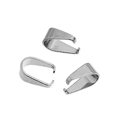 100 Pcs Stainless Steel Pendant Pinch Bail Clasps Silver Tone 9.7mmx9.0mm U5R2