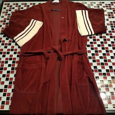 VTG ~ CHRISTIAN DIOR MENS ROBE Burgundy with Cream Detail Mid-Sleeve Chambre