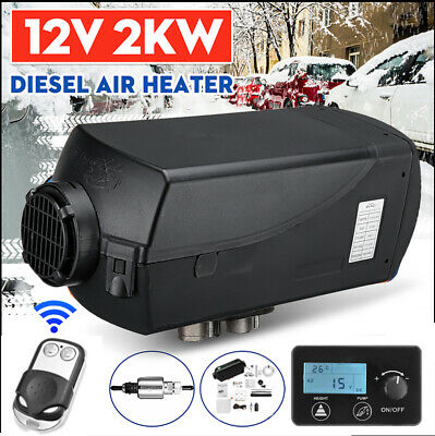 2KW 12V Diesel Air Heater Silencer LCD Thermostat Remote For Caravan Boat RV