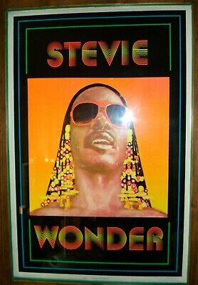 Vintage velvet flocked STEVIE WONDER Blacklight Poster July soul Funky 1981 NOS