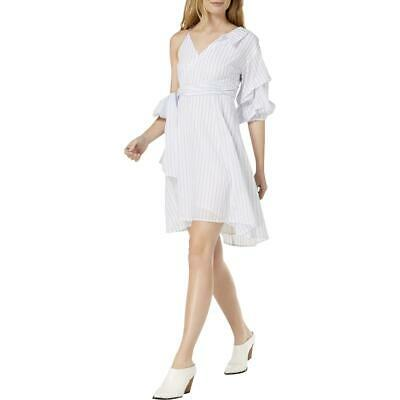 f72f3d8bb7b8 ASTR the Label Womens White One Shoulder Striped Daytime Party Dress S BHFO  2381