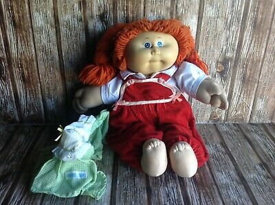 Original Vintage Cabbage Patch Kid Doll - Red Haired Girl Blue Eyes Vgc - Dress