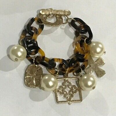 Gold Tone Cross Charms and Faux Pearl Tortoise Shell Link Bracelet 8.5""