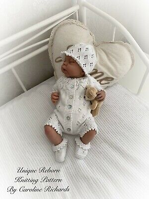 """Snowdrop "" Romper Knitting pattern for Reborn doll 16 -22"" or 0-3 Mth Old Baby"
