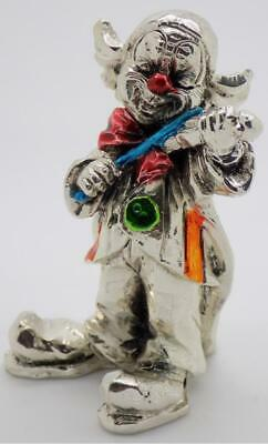 Vintage Sterling Silver 925 Plated Italian Made Clown Figurine, Hallmarked