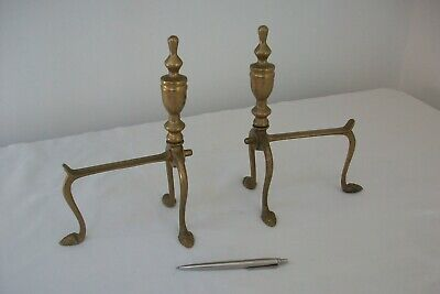 Antique Arts and Crafts Fire Dogs Brass Vintage French Andirons Inglenook