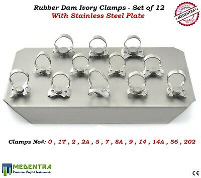 Dental Ivory Rubber Dam Clamps Restorative Instruments Set of 12 on Steel Plate