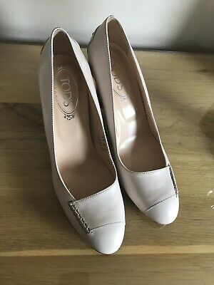 802be919c New Tod's Womens High Block Heel Loafer Pumps Cream Leather uk 6.5 eu 40 us  9