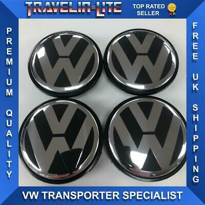 For VW Center Caps 65mm Alloys Wheels Golf Scirocco Polo Transporter New V2