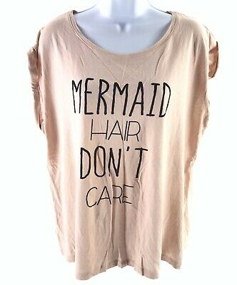 New Look Nude Pink Short Sleeve T Shirt Mermaid Hair Dont Care Size Uk 18 10552
