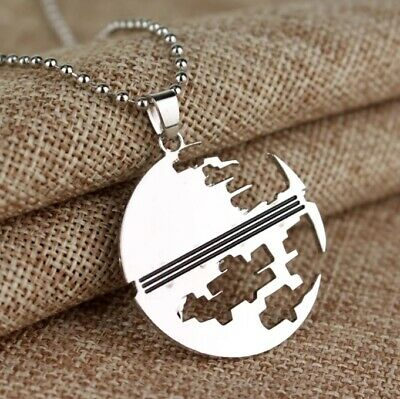 STAR WARS Destroyed DEATHSTAR SILHOUETTE Hollow PENDANT NECKLACE Stainless Steel