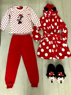 Minnie Mouse Bundle- Fluffy Pyjamas, Dressing Gown and Slippers Size 7/8 Years