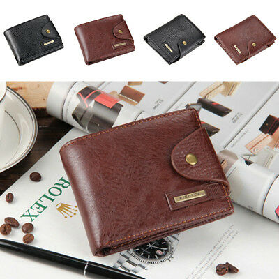 Mens Leather Business Wallet Pocket Card Clutch ID Credit Card Bifold Coin Purse