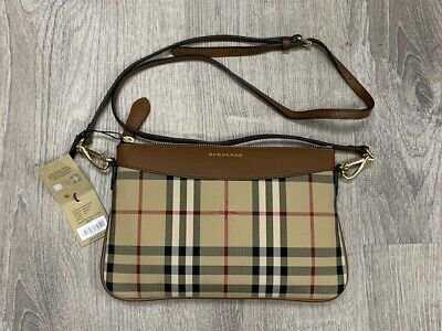 BURBERRY WOMEN'S HORSEFERRY Check Peyton Clutch Bag Brown