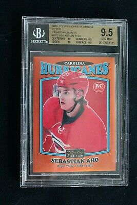 2016-17 OPC Opeechee Platinum Retro Orange Rainbow Sebastian Aho BGS 9.5