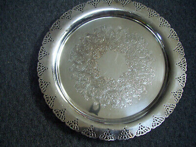 """Home Decorations Inc. 15"""" Silverplate  Round Serving Tray Decorated Platter"""