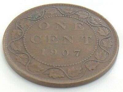 1907 Canada One 1 Cent Large Copper Penny Circulated Edward VII Coin K028