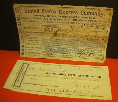 (2) vintage 1883 UNITED STATES EXPRESS COMPANY CHECK & RECEIPT ~ neat PAPER LOT!