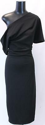 00c8aa1b06cd5 ASOS Design Women's Pleated Shoulder Pencil Dress GS2 Black Size UK:16 US:12