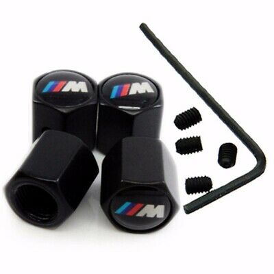 4X BMW M SPORT & M POWER BLACK Chrome Tyre Valve Anti-lock Dust Caps (fits bmw)