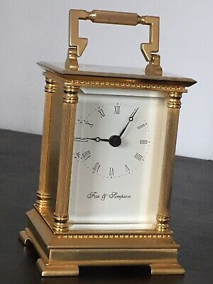 """Vintage """"FOX & SIMPSON"""" Solid & Heavy Brass Fully Gold Plated Carriage Clock GWO"""