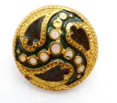 Antique Victorian Stamped Brass Black Green White Enamel Small Button 24684