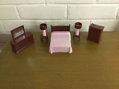 Vintage Mid Century Modern Plastic Pink & Brown Dollhouse Bedroom Furniture Set