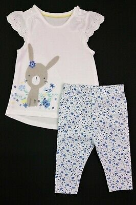 Baby Girls Clothes MOTHERCARE Bunny T-Shirt & Ditsy Leggings Upto 1 Month BNWT