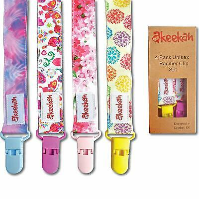 Baby Dummy Clips Girls by Akeekah | 4 Pack in Luxury Gift-Box | For