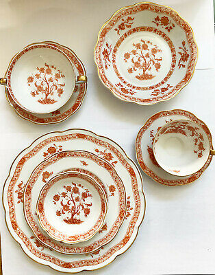 8pc Rust Floral TEHRAN Haviland Limoge France China w/ Gold Trim
