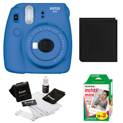 Fujfiom Instax Mini 9 (Cobalt) with 2 Pack Film and Photo Wallet
