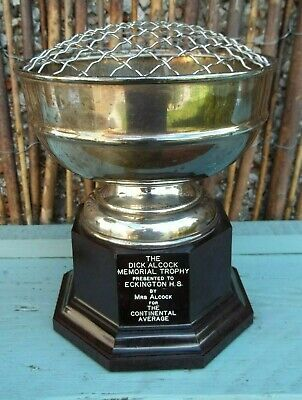 Vintage Silver Plated Trophy / Eckington Homing Society / Dick Alcock
