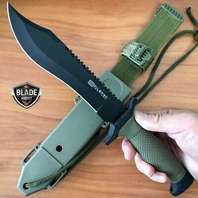"12"" Hunting Fixed Blade Tactical Combat Survival Knife w Sheath Military Bowie-T"