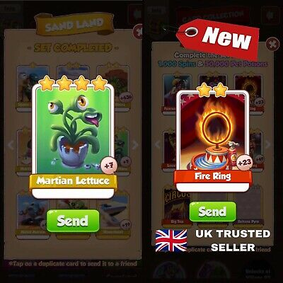 Coin master Card Super Bundle Martian Lettuce and Fire Ring! UK Seller🇬🇧