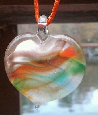 Authentic Italian Murano Glass Heart Pendant from Italy Hand Blown NEW