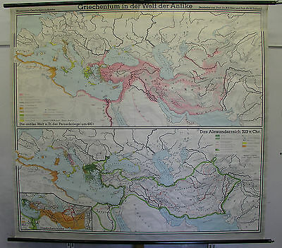 Schulwandkarte Wall Map School Map Old Card Greece Ancient 209x191 1963