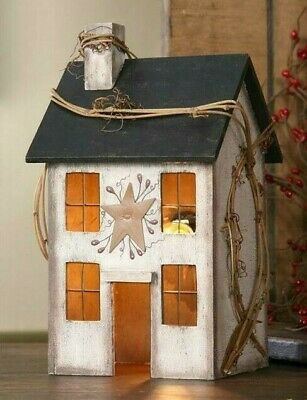 PRIMITIVE WOOD Whitewash ELECTRIC LIGHTED SALTBOX HOUSE 9 Inches Tall Farmhouse