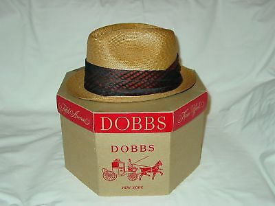 Mens Vintage Dobbs Milan Braid Honey Colored Straw Fedora Hat Size 7 Cool Band