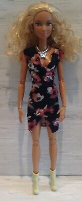 Barbie Fashion Clothing OOAK Floral Wrap Dress Tan Booties Butterfly Necklace