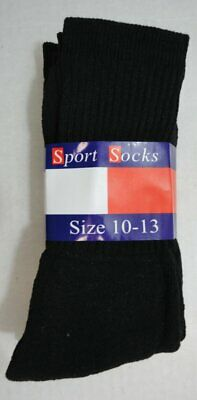 Bulk Lot of 240 Pairs Mens Black Sports Crew Socks FREE SHIPPING!!! sz 10-13