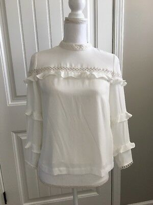 52b4ca9f001fa3 New J Crew Tiered Ruffle Top with Scalloped Lace Trim White Sz 00 H3947