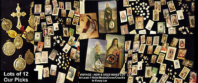 HOLY Relics Medals Crosses Crucifixes Cards Pictures Artifacts + MIX LOT OF 12
