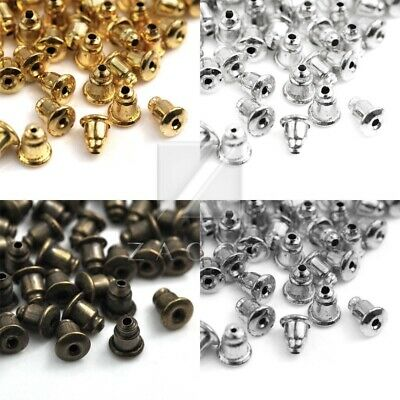70pcs 10g Iron Bullet Plug Back Earring Stud Stoppers Jewelry Finding 12x5x5mm