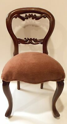 Victorian Wood Doll Chair With Carved Back & Upholstered Seat Cushion