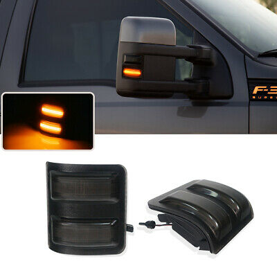 For 2008-2016 Ford F250 F350 F450 F550 Smoked Lens LED Side Mirror Marker Lights